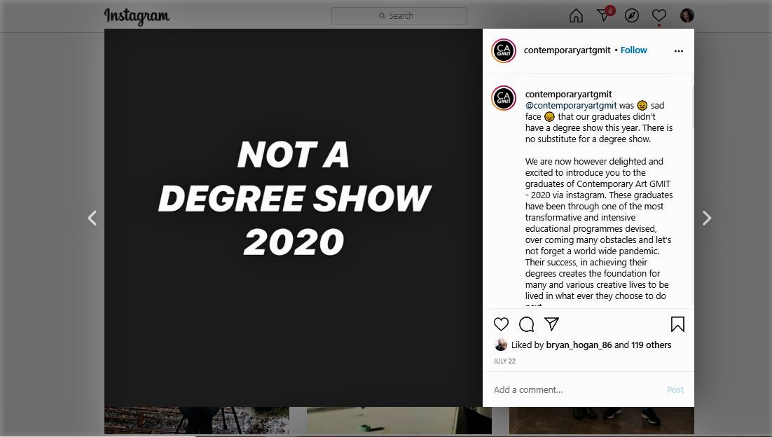 Screenshot of GMIT Not a Degree Show Instagram account
