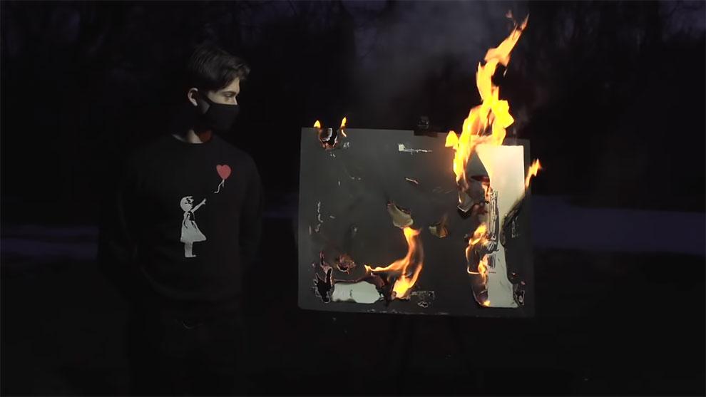 Screenshot of Youbube video of Injective Protocol Burnt Banksy.